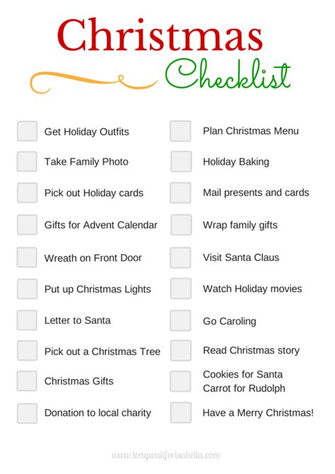 Printable Christmas Planning Checklist | printable christmas checklist long wait for isabella