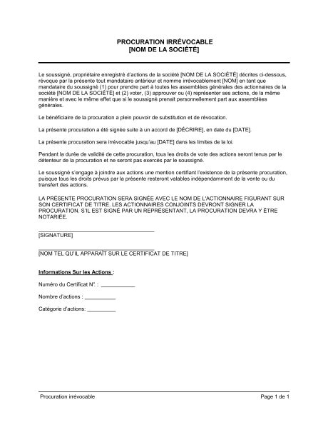 Exemple De Lettre De Procuration De Vote Procuration Irr 233 Vocable Template Sle Form Biztree