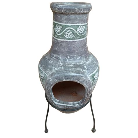 tabletop chiminea la hacienda banded table top clay chiminea in slate grey