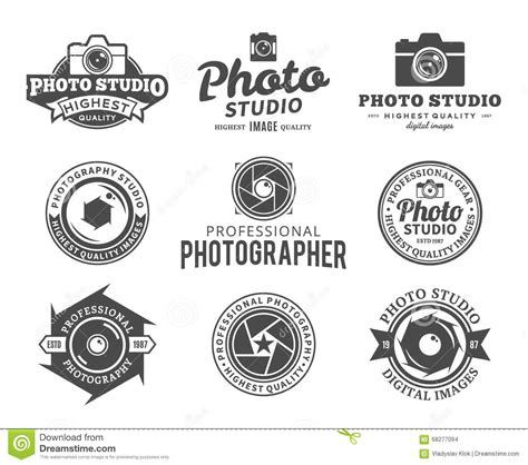 Photography Studio Logo Labels Icons And Design Elements Stock Vector Image 68277094 Lens Studio Templates