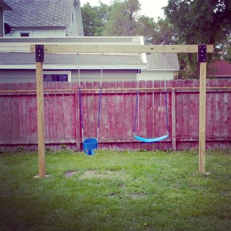 4x4 swing set plans diy swingset 4x6 post and metal face plates for the