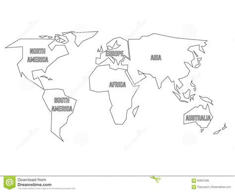 simplified black outline of world map divided to six