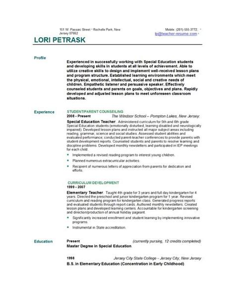 teaching resume template free resume templates easyjob