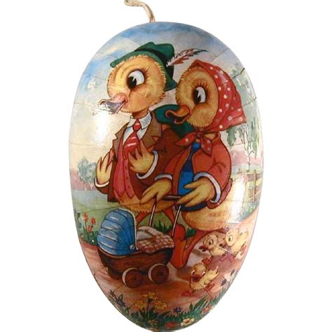 Easter Paper Mache Shop Collectibles - vintage large paper mache container easter egg with