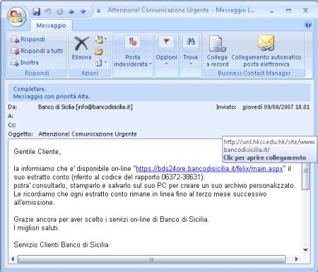 Www Banco Di Sicilia It by Come Si Comportano Diversi Programmi Email Col Phishing