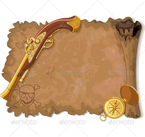 pirate scroll template pirate scroll gun and compass graphicriver