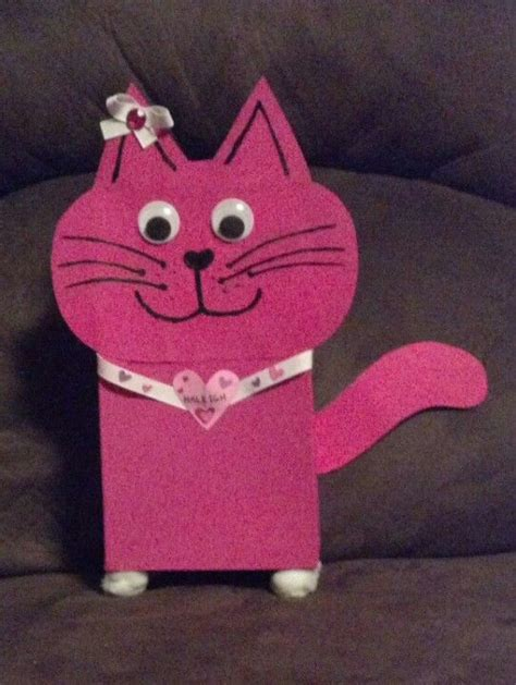 cat valentines box cat craft paint and googly on