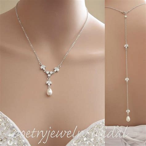 Halskette Hochzeit by Back Drop Bridal Necklace Pearl Bridal Necklace
