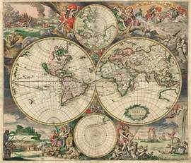 Vintage World Maps by 1689 Interesting Old World Map New Amsterdam 24x28 Ebay