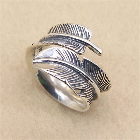 sterling silver feather ring for jewelry1000