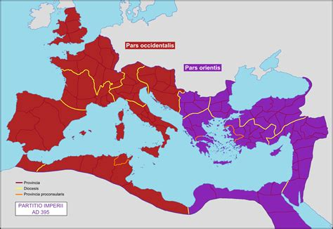 why was the roman empire divided into two sections file partition of the roman empire in 395 ad png