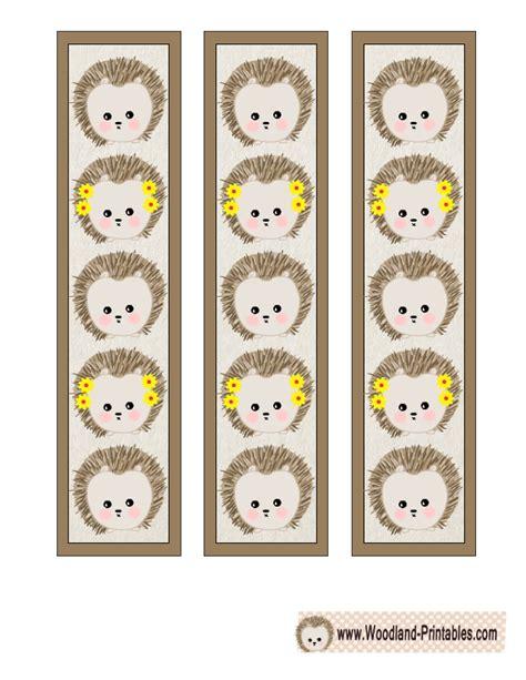 hedgehog bookmarks free printable woodland animals bookmarks