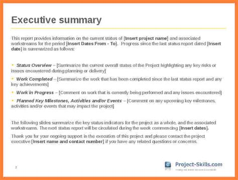 7 executive summary report exle template progress report