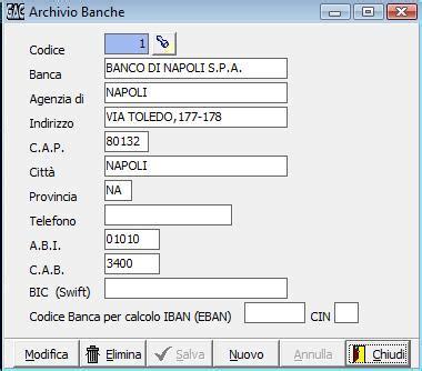 codice delle banche gesacom scheda banca