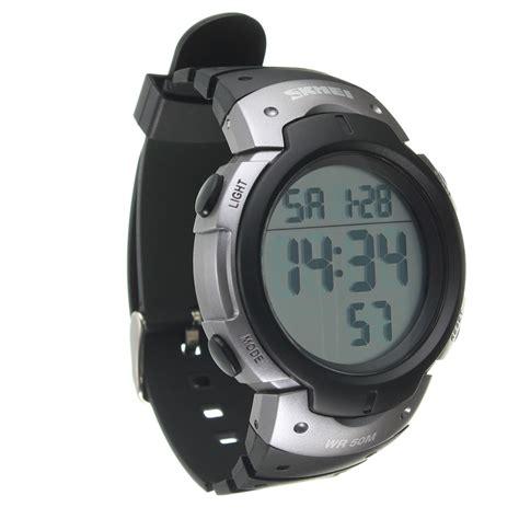 Jam Tangan Elektronik Tahan Air skmei tahan air cahaya led lcd digital alarm jam tangan