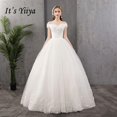 yiiya wedding dress  boat neck  shoulder