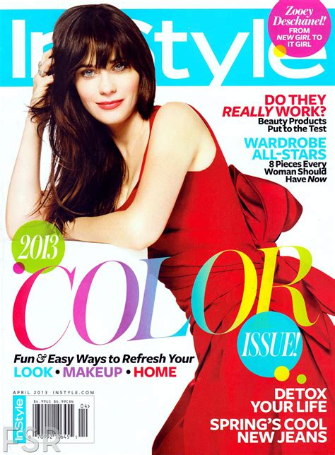 On Cover Of In Style by Zooey Deschanel Cover Instyle April 2013