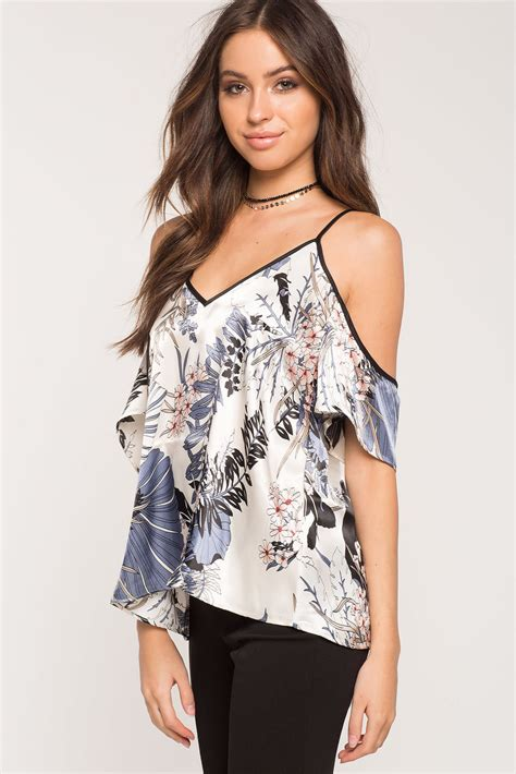 For Printed Satin by S Tops Printed Satin Cold Shoulder Top A Gaci