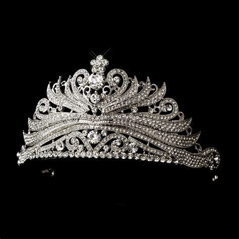 Luxury Sparkling Silver Plated Austrian Princess Tiara antique silver princess tiara headpiece bridal