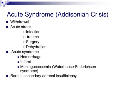 addisonian crisis ppt the adrenals powerpoint presentation id 3926001