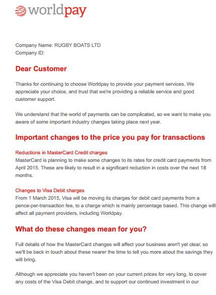 Credit Card Charges Refund Letter Template by Worldpay Fee Increase Letters Cardswitcher