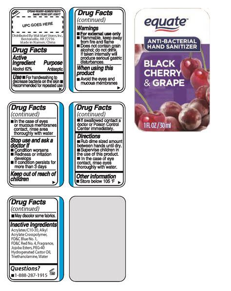 equate anti bacterial hand sanitizer black cherry grape liquid wal mart stores