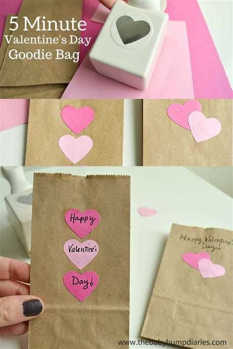 brown valentines day 5 minute s day goodie bag crafts valentines