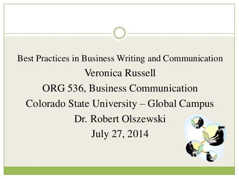 best practices in writing and business communication