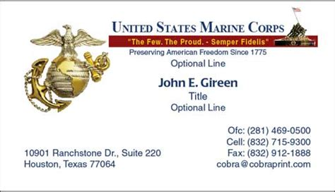 cobra printing productions usmc business cards