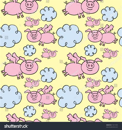 seamless pattern fill illustrator flying pigs seamless vector pattern can stock vector