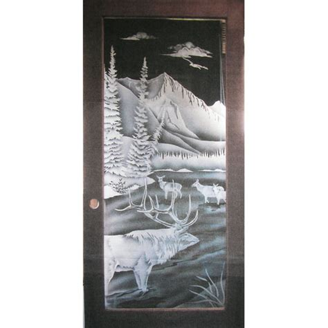 Custom Etched Glass Elk Scene Custom Etched Glass Doors