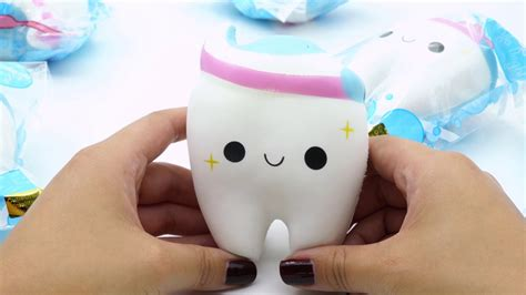 Squishy Smile Teeth tooth with pink white blue toothpaste squishy by cutie creative