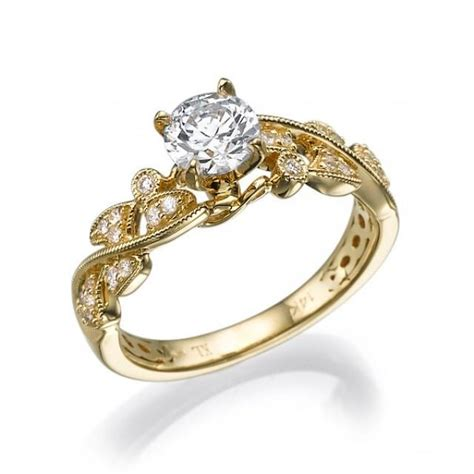 leaves engagement ring yellow gold with unique milgrain