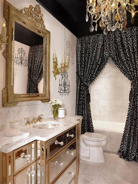 baroque bathroom accessories black wall with white curtains design ideas