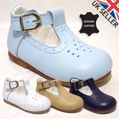baby boy leather t bar shoe white navy camel sky