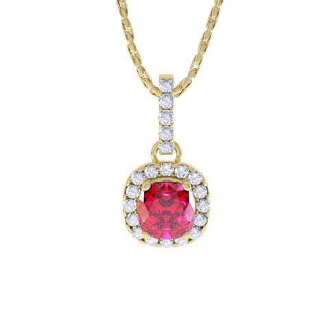 Ruby 16 1ct princess 1ct ruby and halo 18ct yellow gold