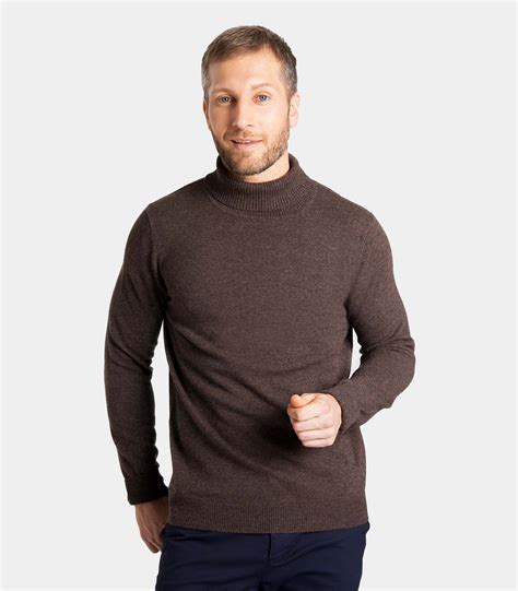 16689 Brown Turtle Neck Sweater brown marl 20 80 merino turtle neck sweater