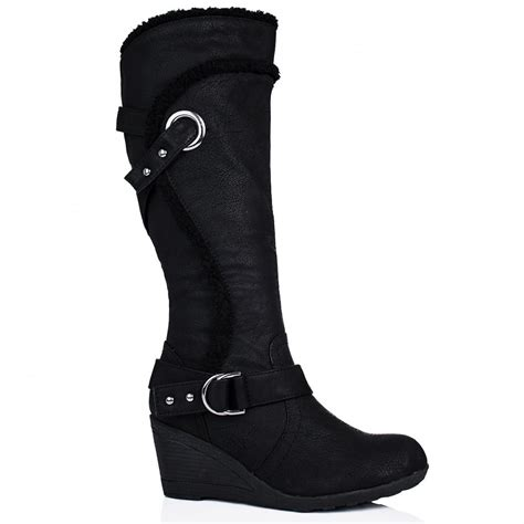 buy barb wedge heel knee high biker boots black leather