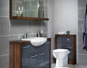 Grey gloss and contrasting walnut fitted bathroom furniture ream