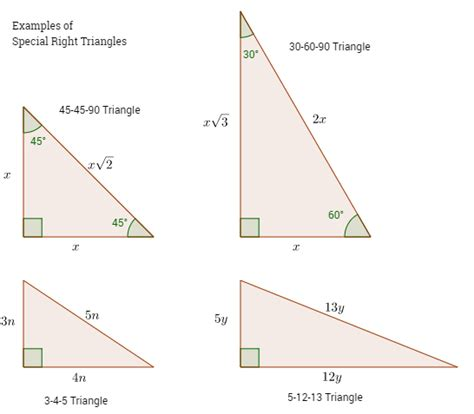 Geometry Special Right Triangles Worksheet by Special Right Triangles Solutions Exles