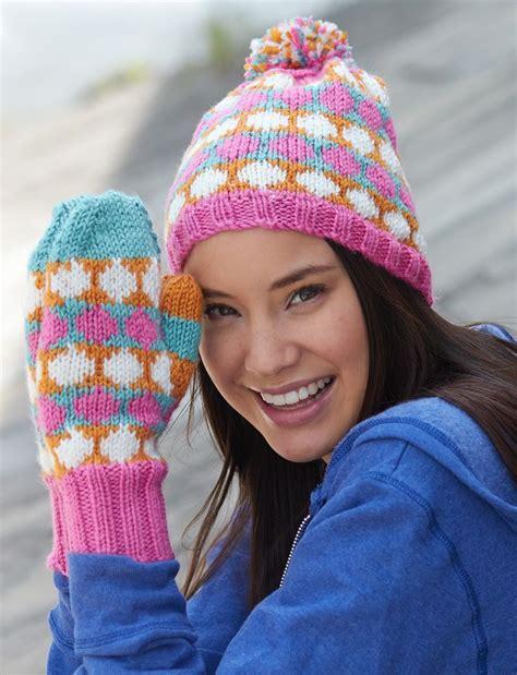 dot pattern knitting yarnspirations com bernat polka dot hat and mittens