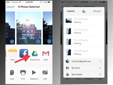 drive upload back up iphone photos with new share sheet for google