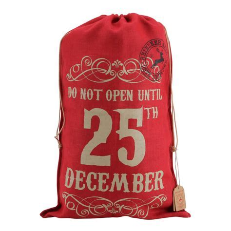 Personalised Red Hessian Christmas Sack   Do Not Open