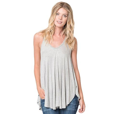 Blouse Tank Top boho solid vest tank tops sleevless casual blouse t shirt