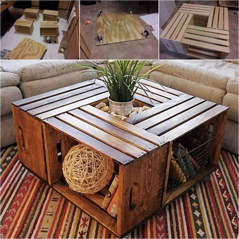 how to make a coffee table out of wine crates pictures