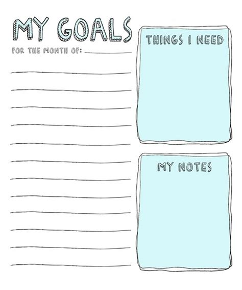 goal list template goals list for the school year or