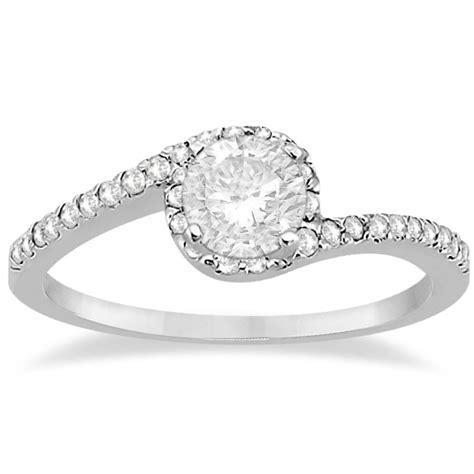 halo twist engagement ring setting 14k white gold