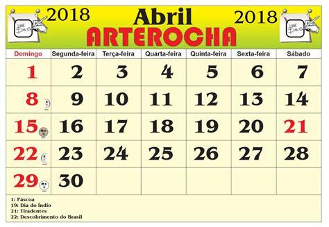 Calendario Abril 2018 Arterocha Calend 193 Mes De Abril 2018