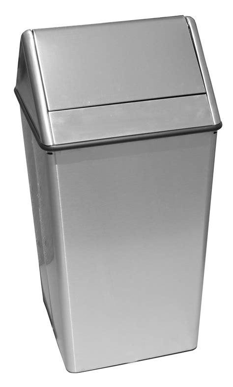 swing top trash can witt stainless steel waste watcher swing top 13 gallon