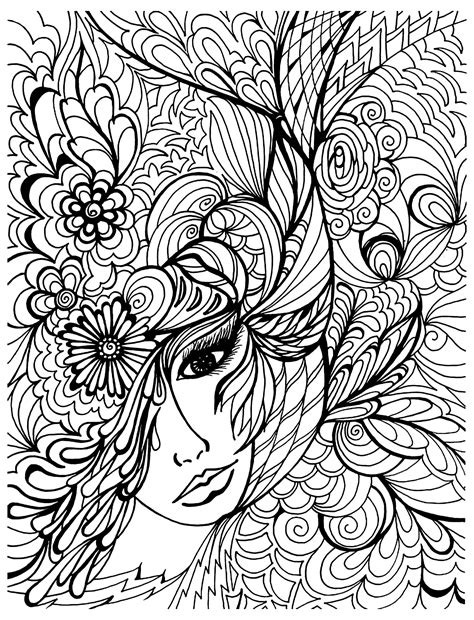 free coloring pages for grown ups face vegetation